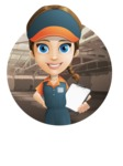 Female Delivery Service Worker Cartoon Vector Character AKA Lizzy - Shape 2