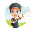 Female Delivery Service Worker Cartoon Vector Character AKA Lizzy - Shape 3