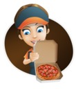Female Delivery Service Worker Cartoon Vector Character AKA Lizzy - Shape 4