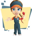 Female Delivery Service Worker Cartoon Vector Character AKA Lizzy - Shape 5