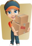 Female Delivery Service Worker Cartoon Vector Character AKA Lizzy - Shape 6