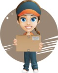 Female Delivery Service Worker Cartoon Vector Character AKA Lizzy - Shape 7