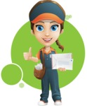 Female Delivery Service Worker Cartoon Vector Character AKA Lizzy - Shape 8
