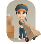 Female Delivery Service Worker Cartoon Vector Character AKA Lizzy - Shape 9