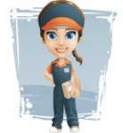 Female Delivery Service Worker Cartoon Vector Character AKA Lizzy - Shape 11
