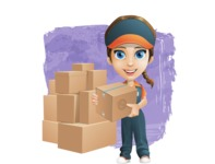 Female Delivery Service Worker Cartoon Vector Character AKA Lizzy - Shape 12