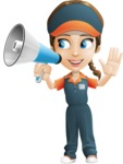 Female Delivery Service Worker Cartoon Vector Character AKA Lizzy - Loudspeaker