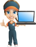 Female Delivery Service Worker Cartoon Vector Character AKA Lizzy - Laptop 2