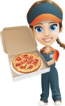Female Delivery Service Worker Cartoon Vector Character AKA Lizzy - Pizza