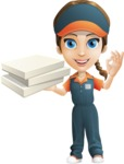 Female Delivery Service Worker Cartoon Vector Character AKA Lizzy - Pizza 4