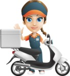 Female Delivery Service Worker Cartoon Vector Character AKA Lizzy - Scooter