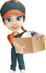 Female Delivery Service Worker Cartoon Vector Character AKA Lizzy - Box Delivery 4
