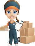 Female Delivery Service Worker Cartoon Vector Character AKA Lizzy - Box Delivery 10