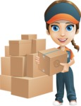 Female Delivery Service Worker Cartoon Vector Character AKA Lizzy - Box Delivery 11