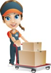 Female Delivery Service Worker Cartoon Vector Character AKA Lizzy - Box Delivery 13