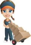Female Delivery Service Worker Cartoon Vector Character AKA Lizzy - Box Delivery 14