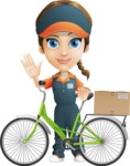 Female Delivery Service Worker Cartoon Vector Character AKA Lizzy - Bike Delivery