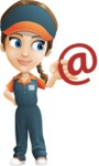 Female Delivery Service Worker Cartoon Vector Character AKA Lizzy - Email