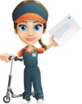 Female Delivery Service Worker Cartoon Vector Character AKA Lizzy - Letter 6