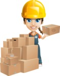 Female Delivery Service Worker Cartoon Vector Character AKA Lizzy - Construction