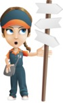 Female Delivery Service Worker Cartoon Vector Character AKA Lizzy - Crossroad
