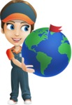 Female Delivery Service Worker Cartoon Vector Character AKA Lizzy - Earth