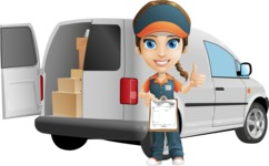 Female Delivery Service Worker Cartoon Vector Character AKA Lizzy - Delivery Car