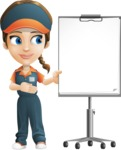 Female Delivery Service Worker Cartoon Vector Character AKA Lizzy - Presentation 2