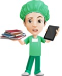 Surgeon Cartoon Vector Character AKA Dr. Henry Scalpel - Choosing Between Tablet and Books