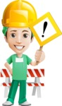 Surgeon Cartoon Vector Character AKA Dr. Henry Scalpel - With Under Construction Sign