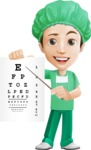 Surgeon Cartoon Vector Character AKA Dr. Henry Scalpel - Pointing to Eye Chart