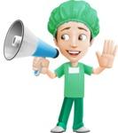 Surgeon Cartoon Vector Character AKA Dr. Henry Scalpel - With Loudspeaker