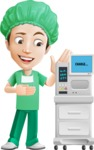 Surgeon Cartoon Vector Character AKA Dr. Henry Scalpel - With ECG Machine