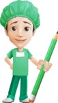 Surgeon Cartoon Vector Character AKA Dr. Henry Scalpel - With Pencil