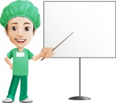 Surgeon Cartoon Vector Character AKA Dr. Henry Scalpel - Pointing on Whiteboard
