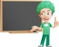 Surgeon Cartoon Vector Character AKA Dr. Henry Scalpel - With Blank Blackboard