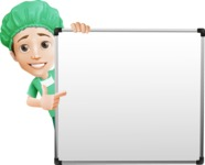 Surgeon Cartoon Vector Character AKA Dr. Henry Scalpel - Pointing to a Whiteboard with a Hand