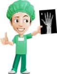 Surgeon Cartoon Vector Character AKA Dr. Henry Scalpel - Holding Hand X-Ray