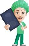 Surgeon Cartoon Vector Character AKA Dr. Henry Scalpel - Holding Radiography