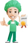 Surgeon Cartoon Vector Character AKA Dr. Henry Scalpel - With a Certificate
