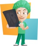 Surgeon Cartoon Vector Character AKA Dr. Henry Scalpel - Looking at X-Ray Illustration Concept