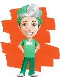 Surgeon Cartoon Vector Character AKA Dr. Henry Scalpel - Being Charming with a Smile Illustration with Background