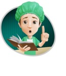 Surgeon Cartoon Vector Character AKA Dr. Henry Scalpel - Reading Medicine Book Illustration with Background
