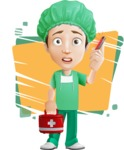 Surgeon Cartoon Vector Character AKA Dr. Henry Scalpel - Talking on Phone With a Patient with Colorful Background