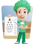 Surgeon Cartoon Vector Character AKA Dr. Henry Scalpel - With Eye Chart and Office Background Illustration