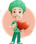Surgeon Cartoon Vector Character AKA Dr. Henry Scalpel - Curing Heart Illustration with Flat Background