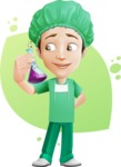 Surgeon Cartoon Vector Character AKA Dr. Henry Scalpel - With a Flusk and Simple Style Background