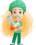 Surgeon Cartoon Vector Character AKA Dr. Henry Scalpel - With Laboratory Example and Simple Style Background