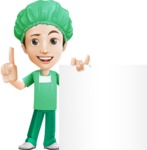 Surgeon Cartoon Vector Character AKA Dr. Henry Scalpel - Holding Blank Sign and Giving Thumbs Up