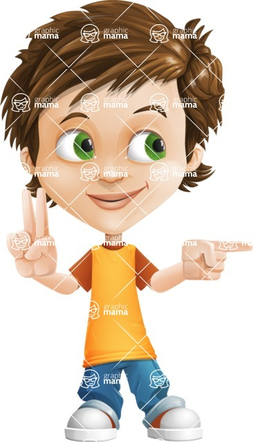 Cool Boy Cartoon Vector Character AKA Jamie Just-Chill - Point 2